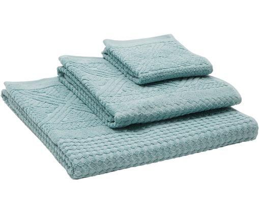 Set asciugamani Retro, 3 pz., Blu turchese