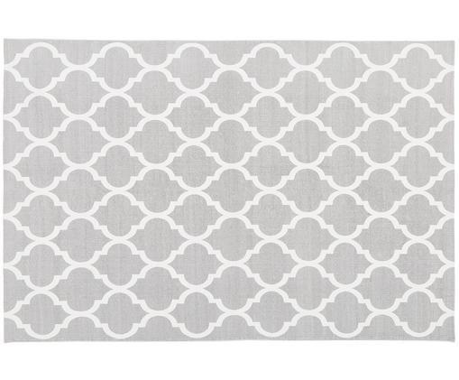 Handgeweven katoenen vloerkleed Amira in grijs/wit, Katoen, Lichtgrijs, crèmewit, B 120 x L 180 cm (maat S)