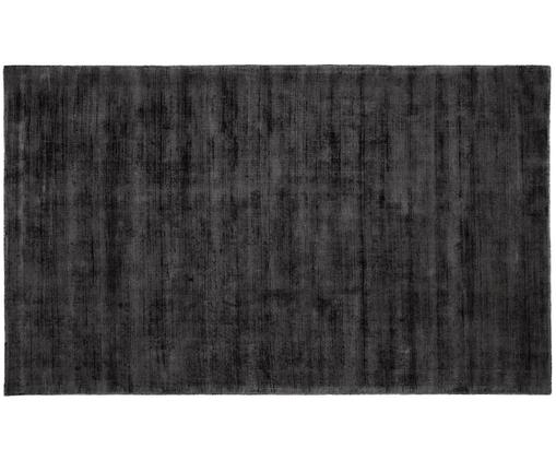 Handgeweven viscose vloerkleed Jane, Bovenzijde: 100% viscose, Onderzijde: 100% katoen, Antraciet-zwart, 90 x 150 cm