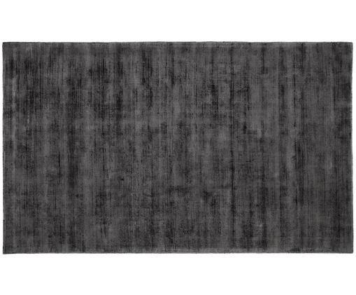 Handgewebter Viskoseteppich Jane, Flor: 100% Viskose, Anthrazit-Schwarz, B 90 x L 150 cm (Größe XS)