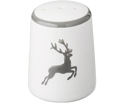Handgefertigter Pfefferstreuer Classic Grauer Hirsch, Keramik, Grau,Weiß, 4 x 6 cm