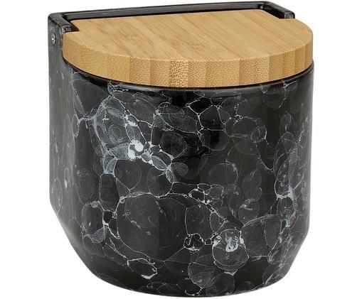 Pojemnik do przechowywania Bubble, Ceramika, drewno bambusowe, Czarny, marmurowy, Ø 12 x W 12 cm