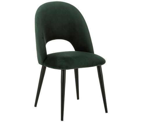 Sedia imbottita in velluto Rachel, Rivestimento: velluto (rivestimento in , Gambe: metallo verniciato a polv, Verde scuro, Larg. 52 x Prof. 59 cm