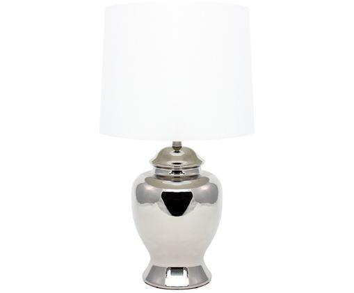 Tafellamp Elisabeth, Zilverkleurig, wit