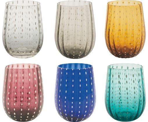 Wassergläser Shiraz in Bunt, 6er-Set, Glas, mundgeblasen, Mehrfarbig, Ø 7 x H 11 cm