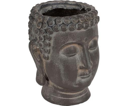 Osłonka na doniczkę Bouddha, Tworzywo sztuczne, Ciemny brązowy, Ø 19 x W 22 cm