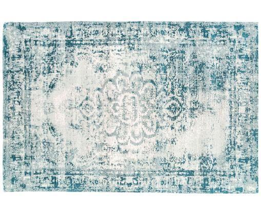 Vintage Chenilleteppich Livorno in Türkis-Creme, handgewebt, Flor: 95% Baumwolle, 5% Polyest, Dunkeltürkis, Creme, B 120 x L 180 cm (Größe S)