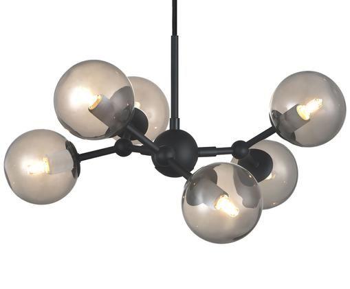 Kugel-Pendelleuchte Atom aus Glas, Lampenschirm: Glas, Grau, Schwarz, 45 x 18 cm