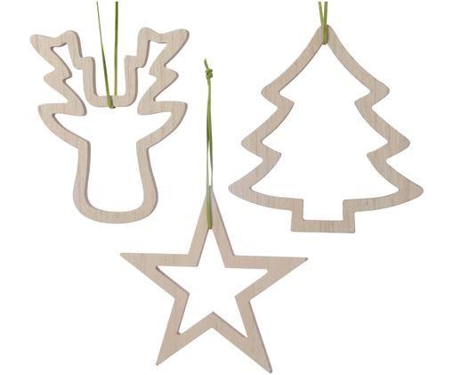Set ciondoli Christmas, 3 pz., Beige, L 17 x A 17 cm