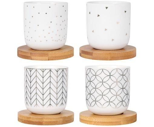 Set de tazas XS Hexa, 8pzas., Taza: blanco, dorado Posavasos: madera, Ø 6 x Al 6 cm