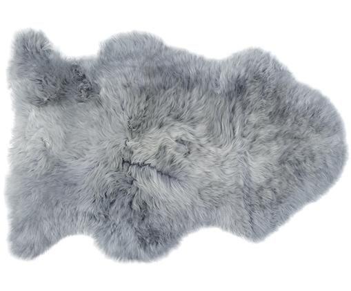 Schaffell Cassy, Flor: 100% Schaffell, Rückseite: 100% Leder, chromfrei geg, Hellgrau, 60 x 90 cm