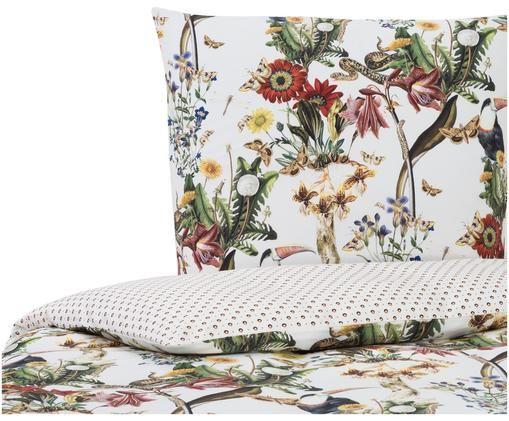 Baumwollsatin-Wendebettwäsche Airen mit Blumenmuster