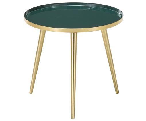 Okrągły stolik pomocniczy emaliowany Amalia, Blat: ciemnyzielony Nogi stolika: odcienie złotego, Ø 40 x W 37 cm