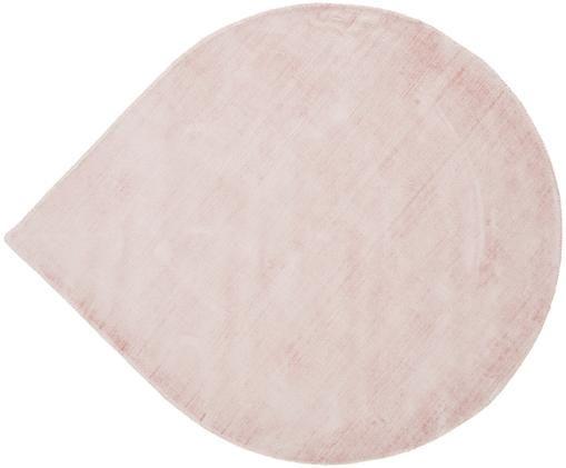 Tappeto in viscosa a forma di lacrima Jane Drop, Vello: 100% viscosa, Retro: 100% cotone, Rosa, ∅ 150 cm