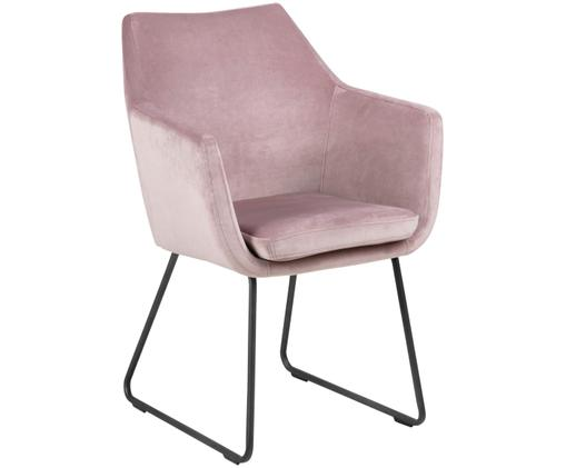 Fluwelen armstoel Nora, Bekleding: polyesterfluweel, Poten: gelakt metaal, Roze, B 58 x D 58 cm
