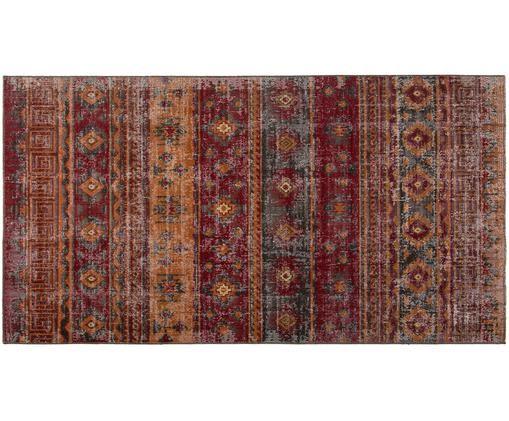 Vintage In- und Outdoorteppich Tilas Istanbul in Dunkelrot, Dunkelrot, Senfgelb, Khaki, B 80 x L 150 cm (Größe XS)