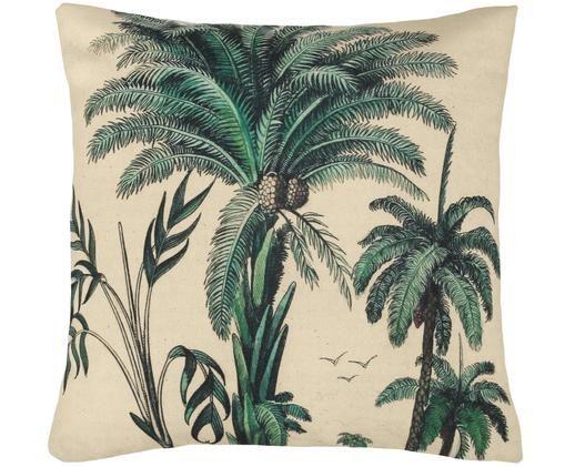 Cuscino con motivo palma Vivi, Rivestimento: cotone, Verde, bianco, Larg.45 x Lung. 45 cm