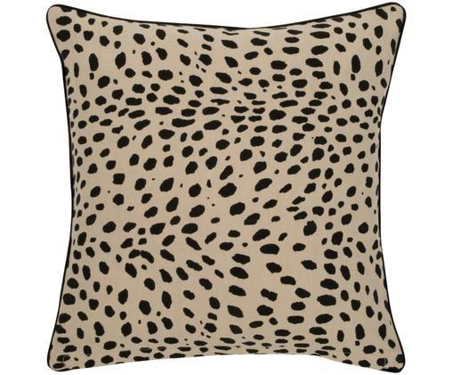 Kissenhülle Leopard mit schwarzem Keder, Beige, Schwarz