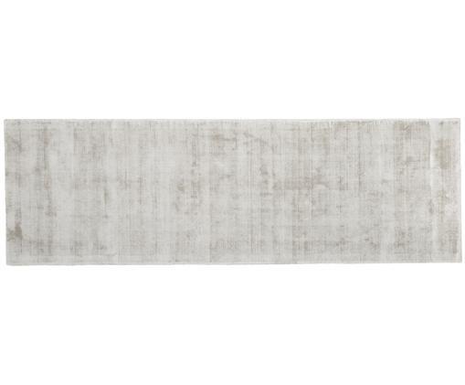 Handgewebter Viskoseläufer Jane, Flor: 100% Viskose, Hellgrau-Beige, 80 x 250 cm