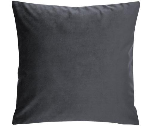 Poszewka na poduszkę z aksamitu Monet, 100% aksamit poliestrowy, Ciemnyszary, S 40 x D 40 cm