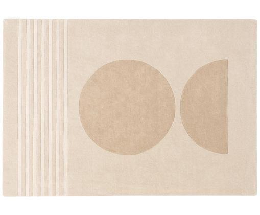 Handgetufteter Wollteppich Bent, Flor: Wolle, Beige, Creme, B 140 x L 200 cm (Größe S)