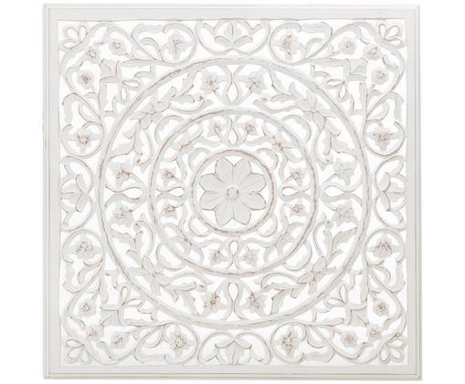Handgefertigter Wandschmuck Malika mit Antik-Finish, Mitteldichte Holzfaserplatte (MDF), Weiß, Antik-Finish, 100 x 100 cm
