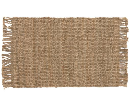 Handgefertigter Jute-Teppich Cadiz mit Fransen, Jute, Jute, B 60 x L 90 cm (Grösse XXS)