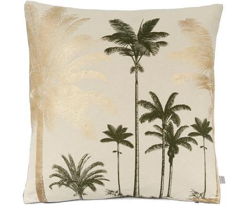 Kissen Palm Trees, mit Inlett, Vorderseite: Baumwolle, Rückseite: Baumwollsamt, Beige, Goldfarben, Schwarz, 45 x 45 cm