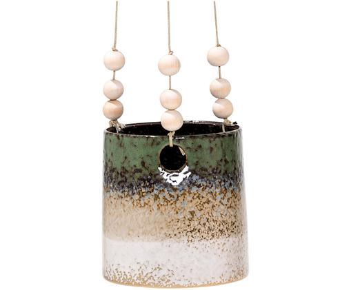 Blumenampel Thrice, Übertopf: Porzellan, Dunkelgrün, Sandfarben, Ø 14 x H 15 cm