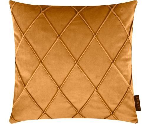 Poszewka na poduszkę z aksamitu Nobless, Aksamit poliestrowy, Żółty, S 40 x D 40 cm