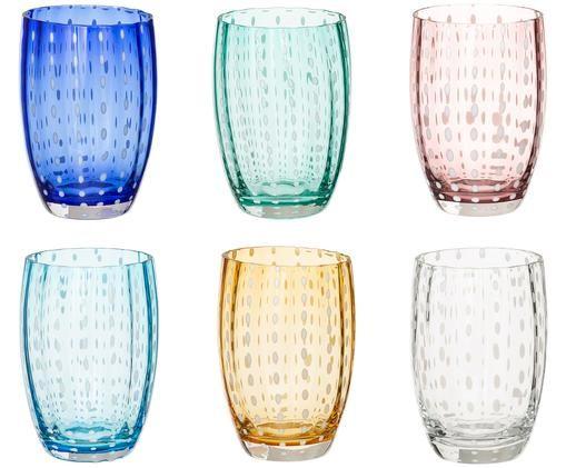 Mundgeblasenes Wassergläser Perle, 6er-Set, Glas, Transparent, Weiß, Aqua, Bernsteinfarben, Pastellviolett, Rot und Grün, Ø 7 x H 11 cm