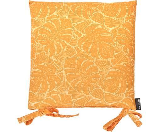 Sitzkissen Palm, 50% Baumwolle, 45% Polyester, 5% andere Fasern, Gelb, 45 x 45 cm