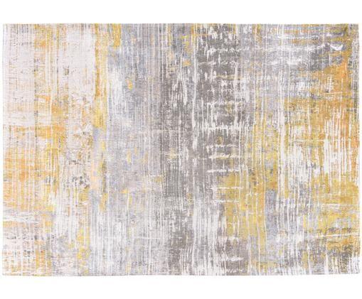 Alfombra Streaks, Parte superior: 85%algodón, 15%hilos de, Reverso: mezcla de algodón, recubi, Amarillo, gris, blanco, An 140 x L 200 cm