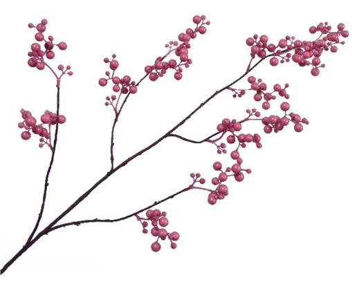 Kunstblume Beerenzweig Barbara, Kunststoff, Braun, Rosa, 20 x 84 cm