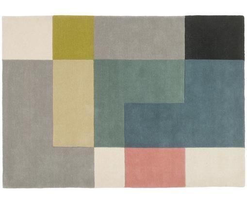 Alfombra artesanal de lana de diseño Tetris, Multicolor, An 140 x L 200 cm (Tamaño S)