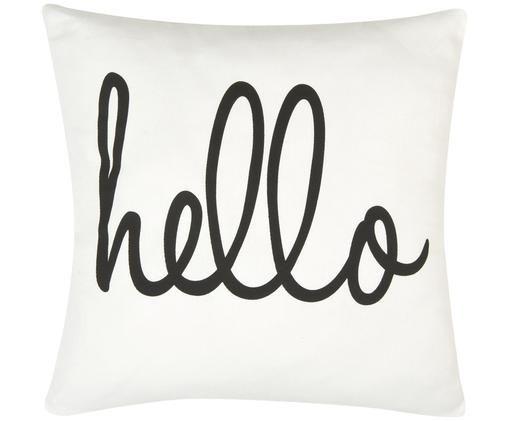 Funda de cojín Hello, 100%algodón, tela Panamá, Negro, blanco crema, An 40 x L 40 cm