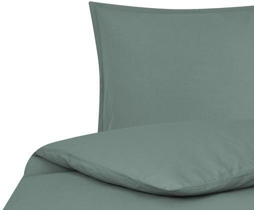 Parure copripiumino in lino Breezy, 52% lino, 48% cotone Con effetto stonewash per una sensazione morbida al tatto, Verde scuro, 155 x 200 cm