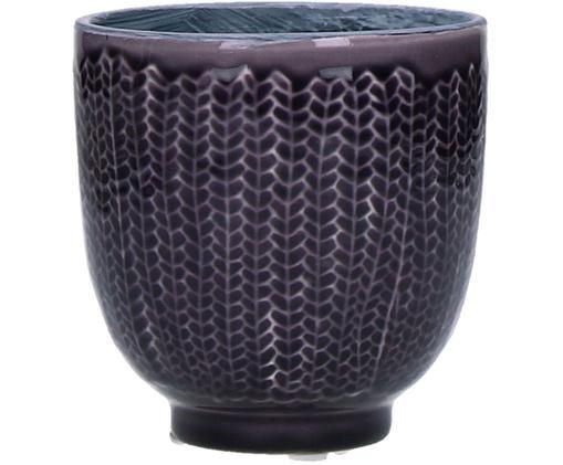 Handbemalter Übertopf Cocooning, Keramik, Lila, Ø 11 x H 11 cm