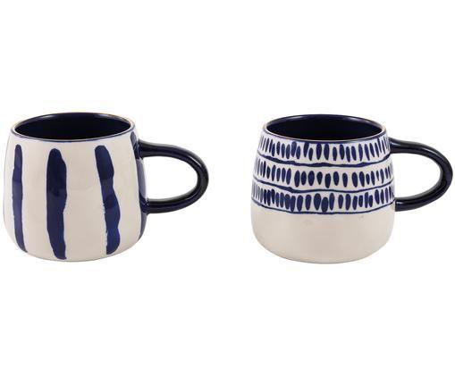 Tazas de café Masai, 2pzas., Azul, blanco crudo Borde: dorado