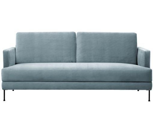 Samt-Sofa Fluente (3-Sitzer), Bezug: Samt (Hochwertiger Polyes, Gestell: Massives Kiefernholz, Füße: Metall, lackiert, Samt Türkis, B 197 x T 83 cm