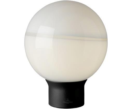 Tischleuchte Tokio aus Glas, Lampenschirm: Opalglas, Lampenfuß: Metall, lackiert, Schwarz, Opalweiß, Ø 20 x H 24 cm