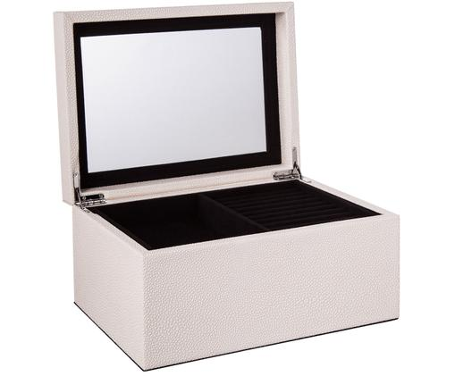 Joyero Megan, Caja: tablero de fibras de dens, Exterior: cuero sintético, Interior: terciopelo, Beige, An 26 x Al 13 cm