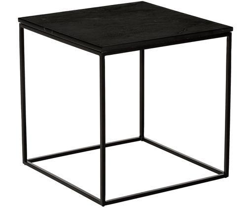 Marmor-Beistelltisch Alys, Tischplatte: Marmor Naturstein, Gestell: Metall, pulverbeschichtet, Tischplatte: Schwarzer Marmor Gestell: Schwarz, matt, 50 x 50 cm