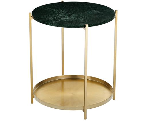 Marmeren bijzettafel Victoria, Tafelblad: groen marmer. Frame: mat goudkleurig