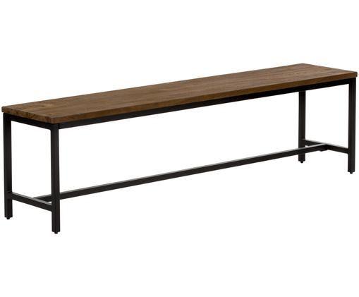 Ławka z litego drewna mangowego Raw, Stelaż: żelazo malowane proszkowo, Siedzisko: drewno mangowe o stylistyce vintage Stelaż: czarny, S 177 x W 47 cm