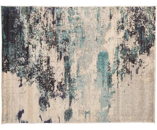 Designteppich Celestial in Blau-Creme, Flor: Polypropylen, Elfenbeinfarben, Blautöne, B 240 x L 320 cm (Größe L)