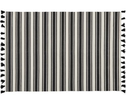 Alfombra artesanal de algodón Vigga, Negro, beige, An 160 x L 230 cm (Tamaño M)