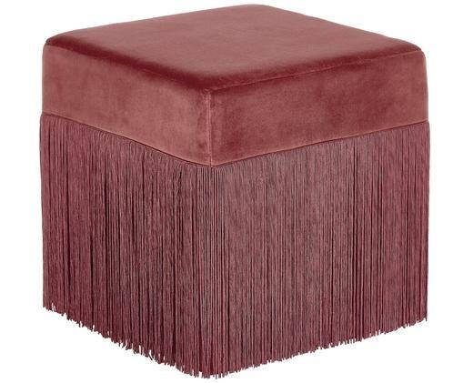 Fransen-Hocker Alison, Bezug: Baumwollsamt, Fransen: Viskose, Unterseite: Baumwolle, Terrakotta, 40 x 40 cm