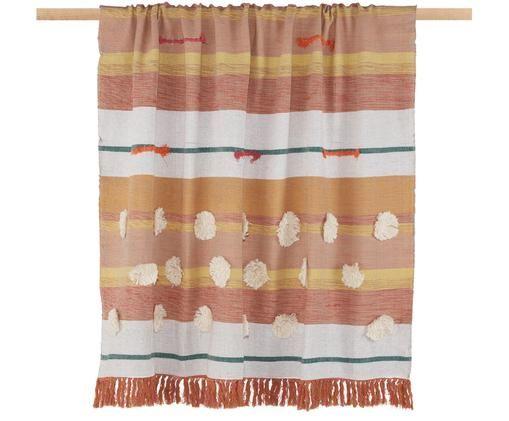 Pled z bawełny Madeline, Żółty, odcienie różowego, biały, zielony