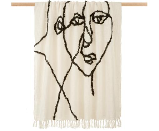 Plaid Face mit abstrakter Zeichnung, Baumwolle, Elfenbeinfarben, Schwarz, 130 x 170 cm